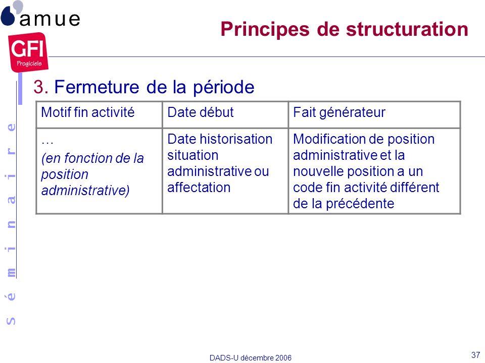 S é m i n a i r e DADS-U décembre 2006 37 Principes de structuration 3. Fermeture de la période Motif fin activitéDate débutFait générateur … (en fonc