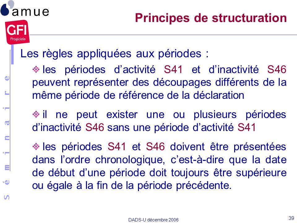 S é m i n a i r e DADS-U décembre 2006 39 Les règles appliquées aux périodes : les périodes dactivité S41 et dinactivité S46 peuvent représenter des d