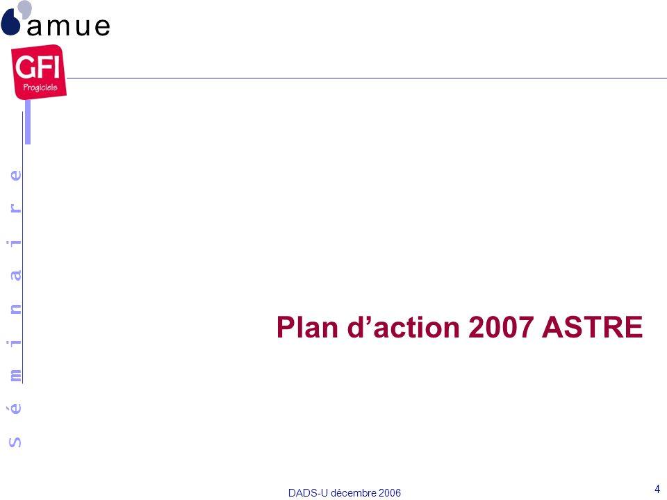 S é m i n a i r e DADS-U décembre 2006 4 Plan daction 2007 ASTRE