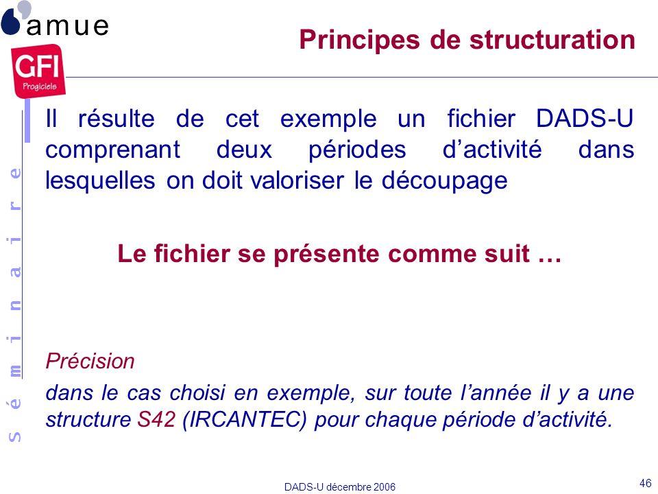 S é m i n a i r e DADS-U décembre 2006 46 Il résulte de cet exemple un fichier DADS-U comprenant deux périodes dactivité dans lesquelles on doit valor