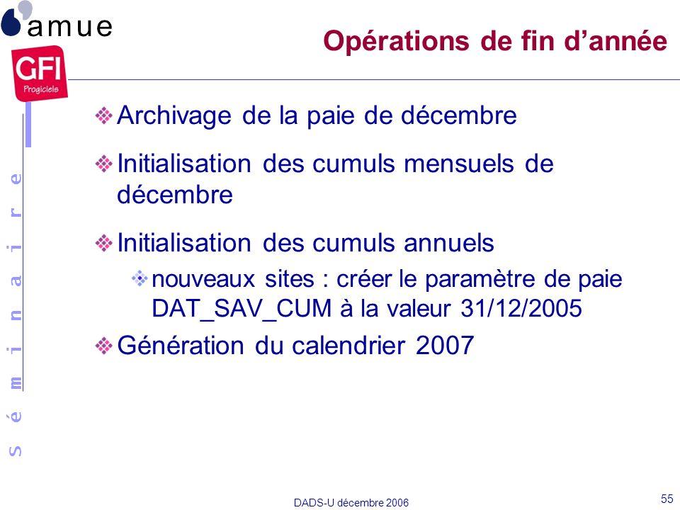 S é m i n a i r e DADS-U décembre 2006 55 Archivage de la paie de décembre Initialisation des cumuls mensuels de décembre Initialisation des cumuls an