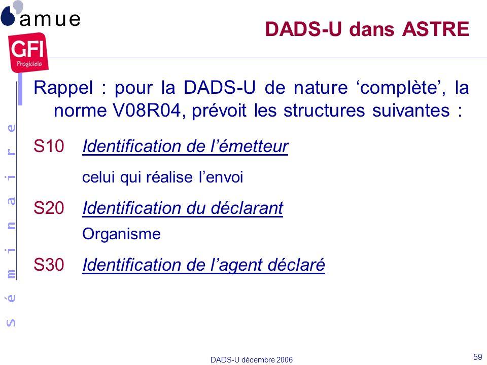 S é m i n a i r e DADS-U décembre 2006 59 Rappel : pour la DADS-U de nature complète, la norme V08R04, prévoit les structures suivantes : S10Identific