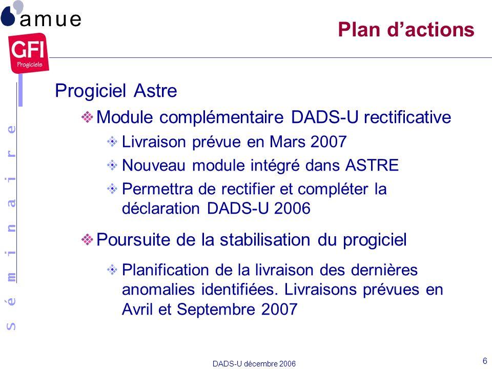 S é m i n a i r e DADS-U décembre 2006 6 Plan dactions Progiciel Astre Module complémentaire DADS-U rectificative Livraison prévue en Mars 2007 Nouvea