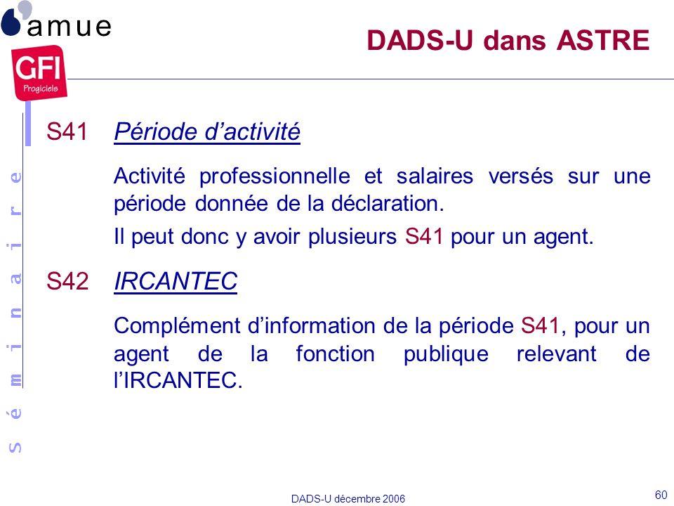 S é m i n a i r e DADS-U décembre 2006 60 S41Période dactivité Activité professionnelle et salaires versés sur une période donnée de la déclaration. I
