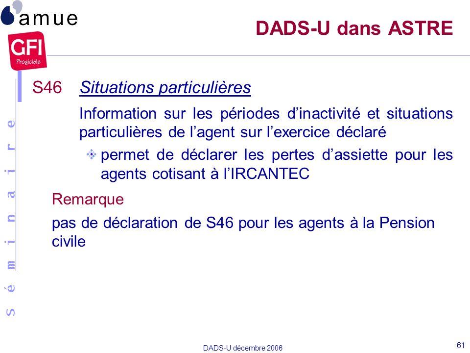 S é m i n a i r e DADS-U décembre 2006 61 S46Situations particulières Information sur les périodes dinactivité et situations particulières de lagent s