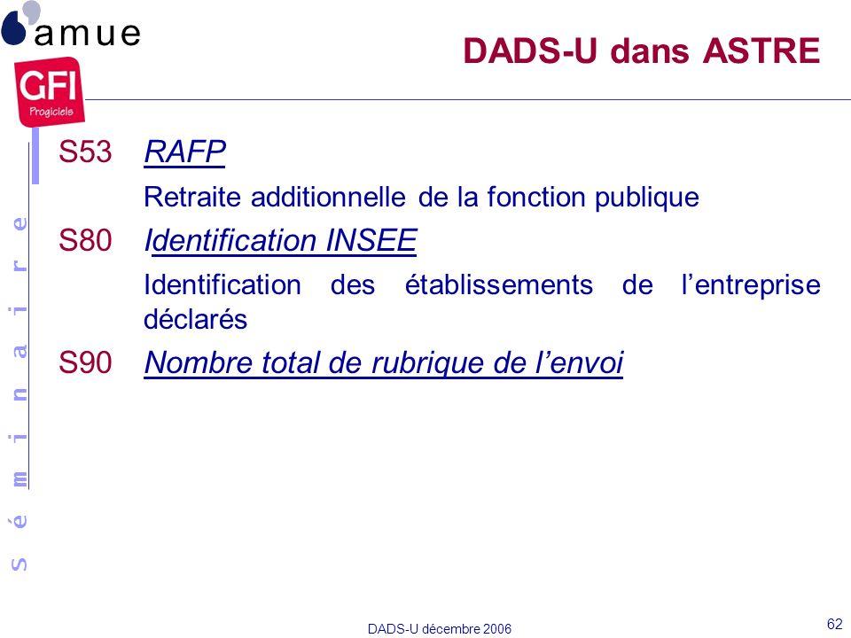 S é m i n a i r e DADS-U décembre 2006 62 S53 RAFP Retraite additionnelle de la fonction publique S80 Identification INSEE Identification des établiss