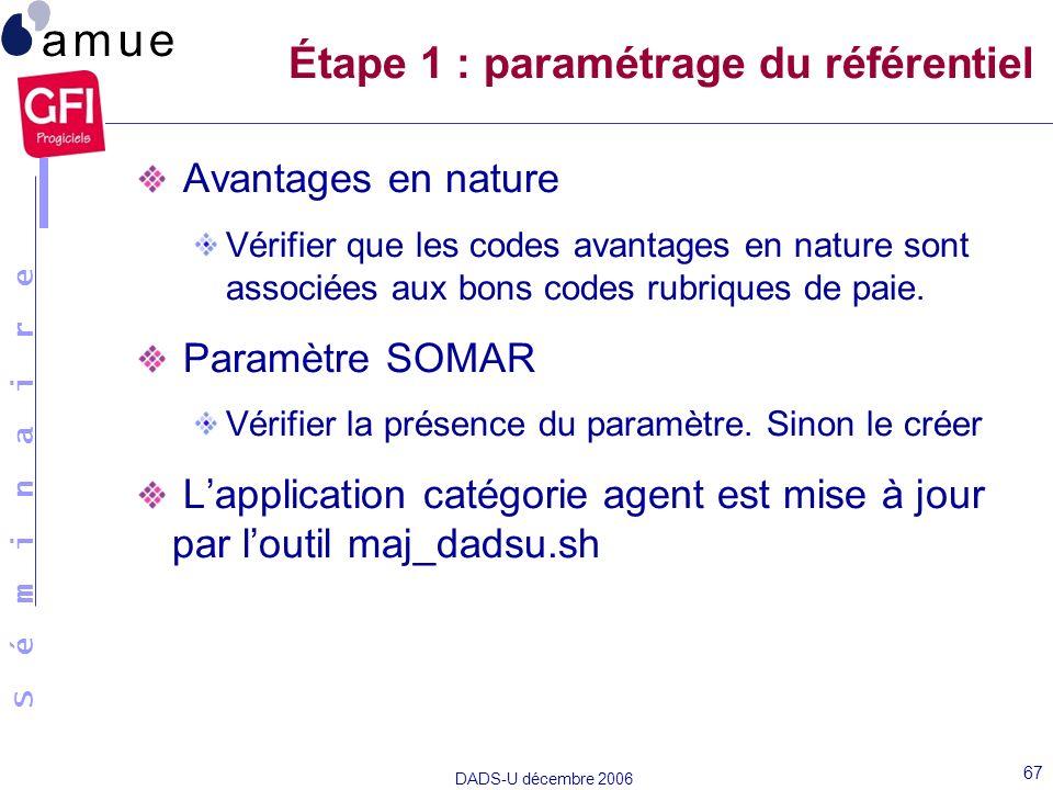 S é m i n a i r e DADS-U décembre 2006 67 Avantages en nature Vérifier que les codes avantages en nature sont associées aux bons codes rubriques de pa