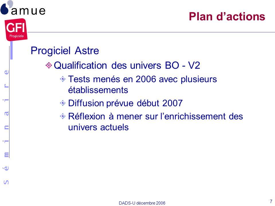 S é m i n a i r e DADS-U décembre 2006 7 Plan dactions Progiciel Astre Qualification des univers BO - V2 Tests menés en 2006 avec plusieurs établissem