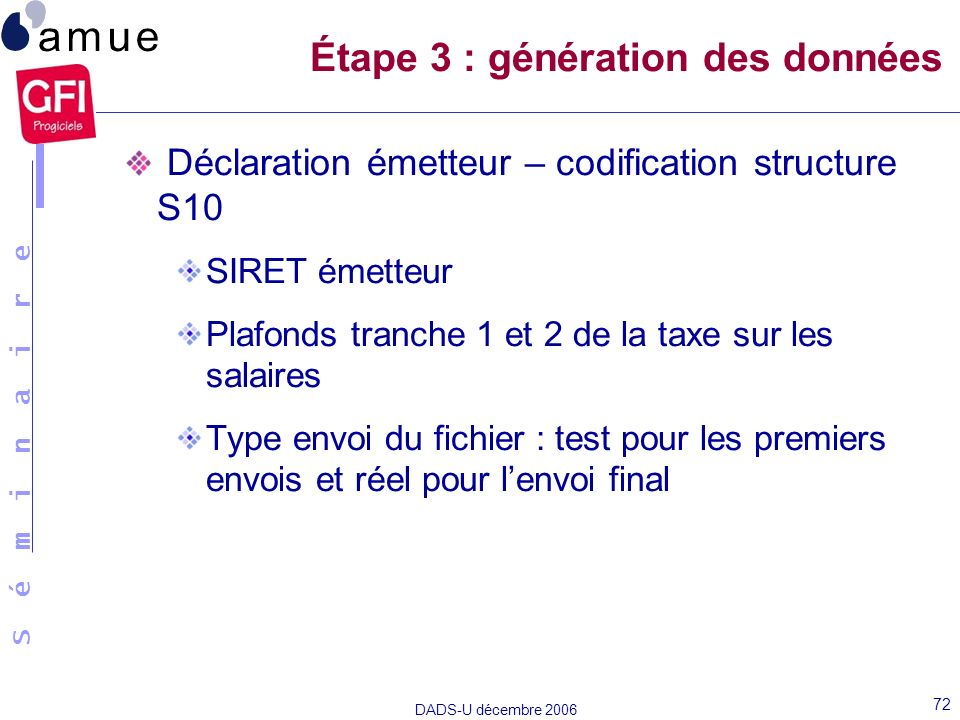 S é m i n a i r e DADS-U décembre 2006 72 Déclaration émetteur – codification structure S10 SIRET émetteur Plafonds tranche 1 et 2 de la taxe sur les