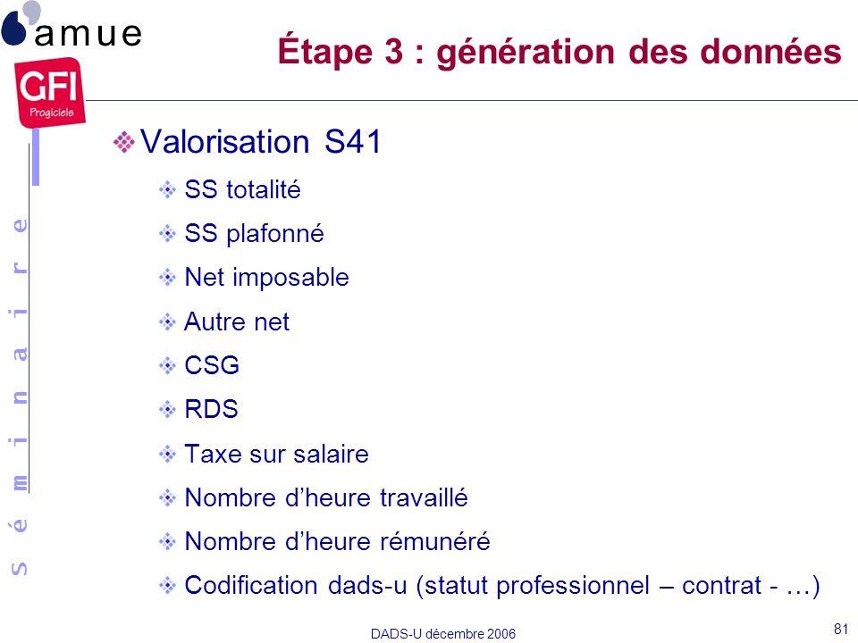 S é m i n a i r e DADS-U décembre 2006 81 Valorisation S41 SS totalité SS plafonné Net imposable Autre net CSG RDS Taxe sur salaire Nombre dheure trav