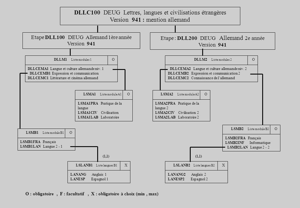 DLLC100 DEUG Lettres, langues et civilisations étrangères Version 941 : mention allemand Etape : DLL200 DEUG Allemand 2e année Version 941 Etape DLL10