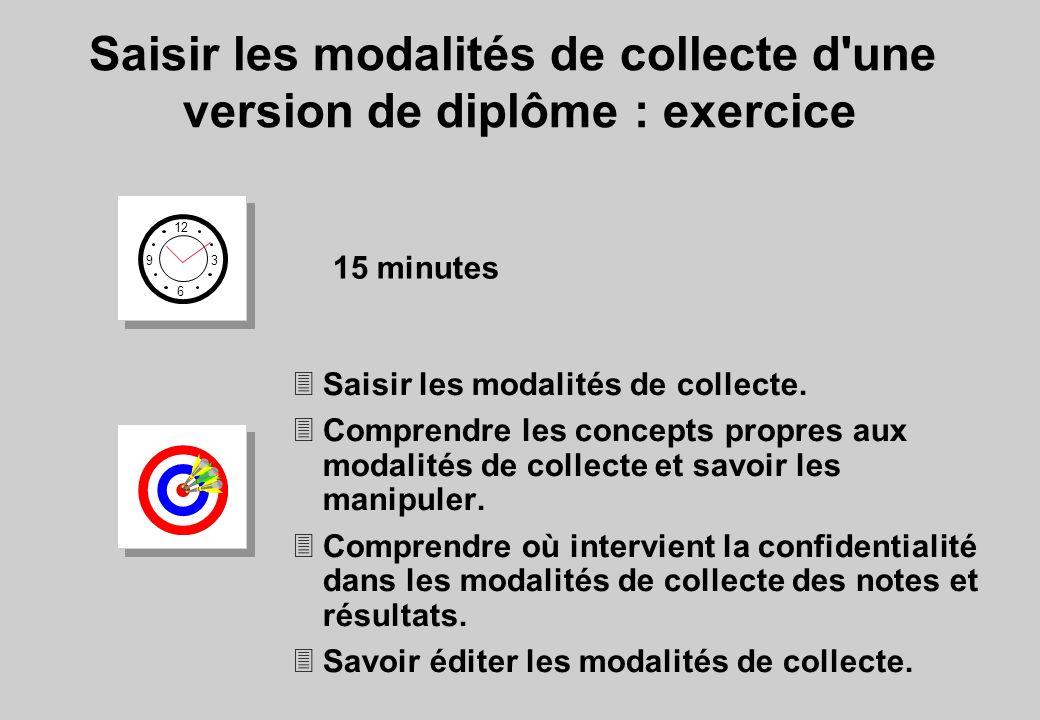 12 6 3 9 15 minutes 3Saisir les modalités de collecte. 3Comprendre les concepts propres aux modalités de collecte et savoir les manipuler. 3Comprendre