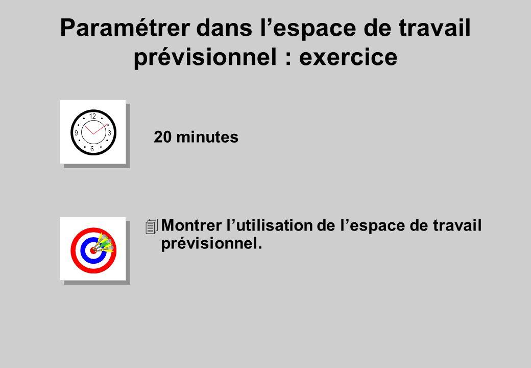 4Montrer lutilisation de lespace de travail prévisionnel. Paramétrer dans lespace de travail prévisionnel : exercice 12 6 3 9 20 minutes