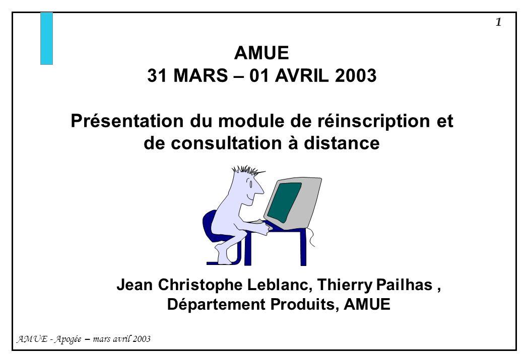 12 AMUE - Apogée – mars avril 2003 Paramétrer lapplication web cest : - personnaliser (éventuellement) les libellés affichés - paramétrer le référentiel Accès à distance - créer le contenu des pages daide du module web 2.