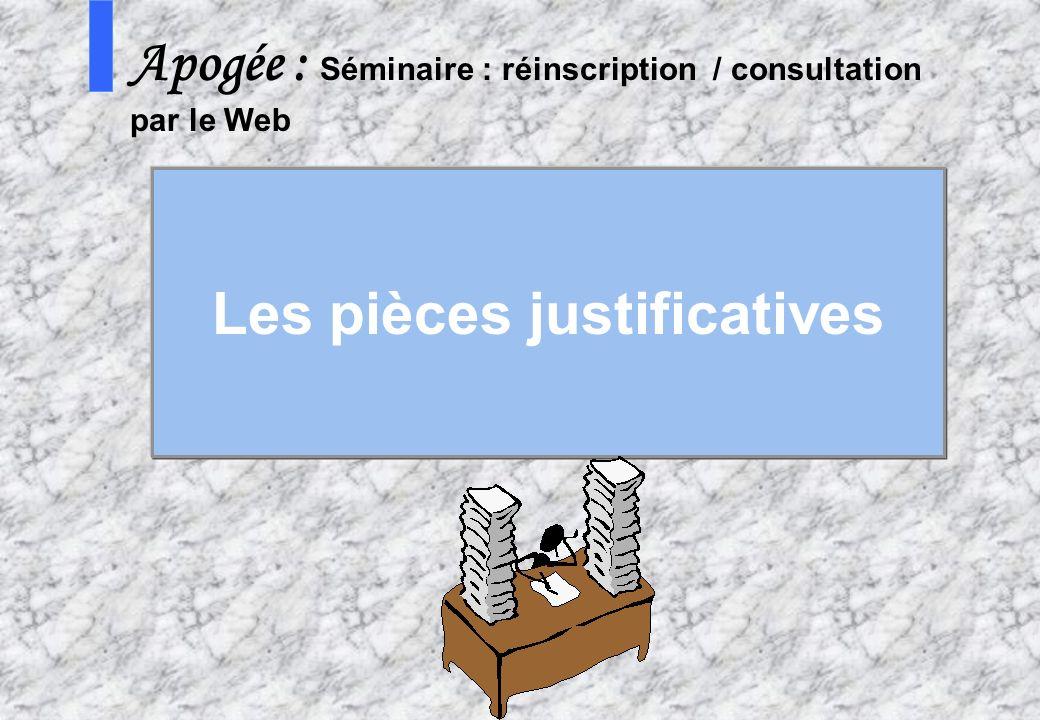 29 AMUE - Apogée – mars avril 2003 S Apogée : Séminaire : réinscription / consultation par le Web Les pièces justificatives