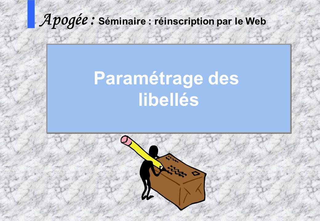 36 AMUE - Apogée – mars avril 2003 S Apogée : Séminaire : réinscription par le Web Paramétrage des libellés