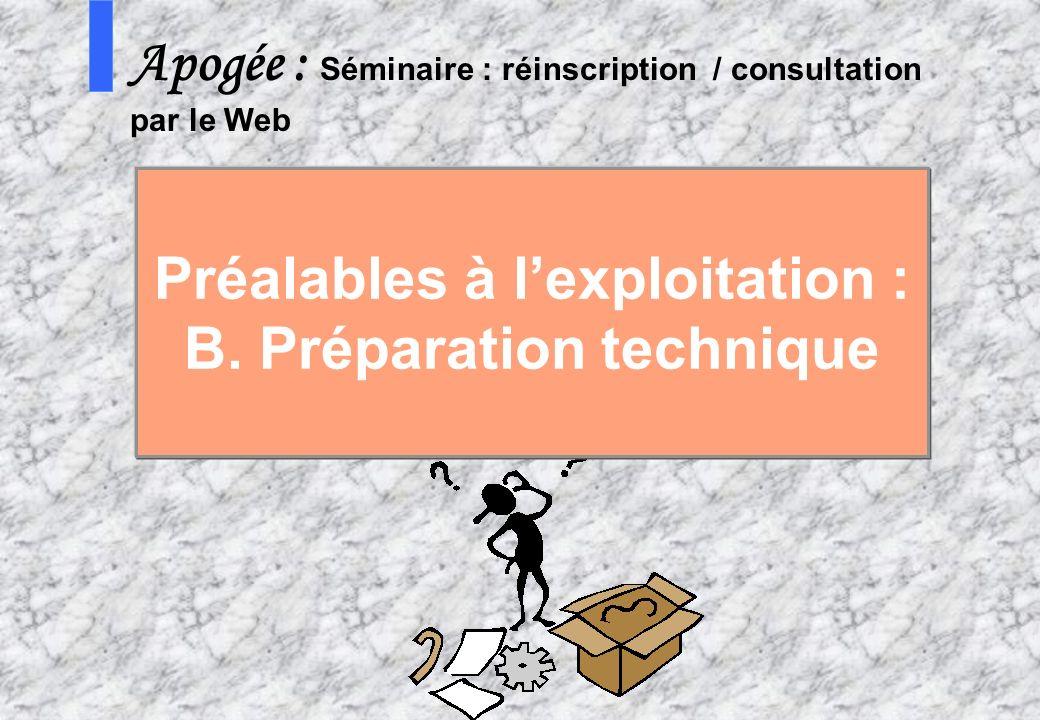 41 AMUE - Apogée – mars avril 2003 S Apogée : Séminaire : réinscription / consultation par le Web Préalables à lexploitation : B. Préparation techniqu