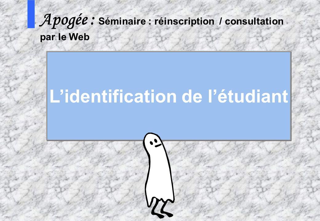 45 AMUE - Apogée – mars avril 2003 S Apogée : Séminaire : réinscription / consultation par le Web Lidentification de létudiant
