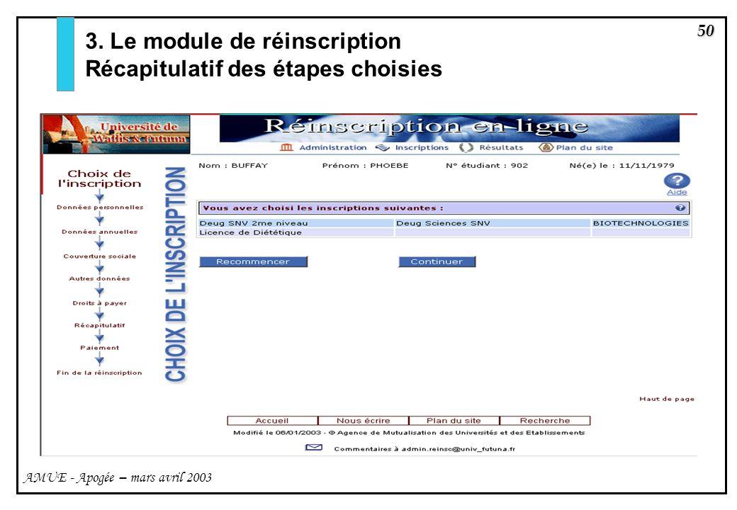50 AMUE - Apogée – mars avril 2003 3. Le module de réinscription Récapitulatif des étapes choisies