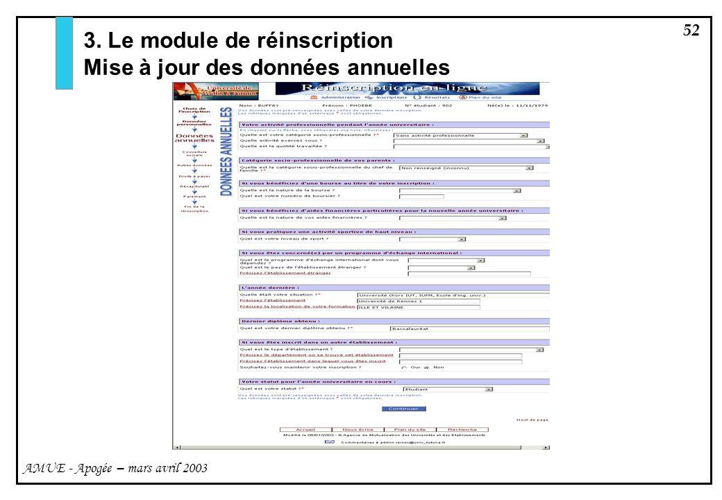 52 AMUE - Apogée – mars avril 2003 3. Le module de réinscription Mise à jour des données annuelles