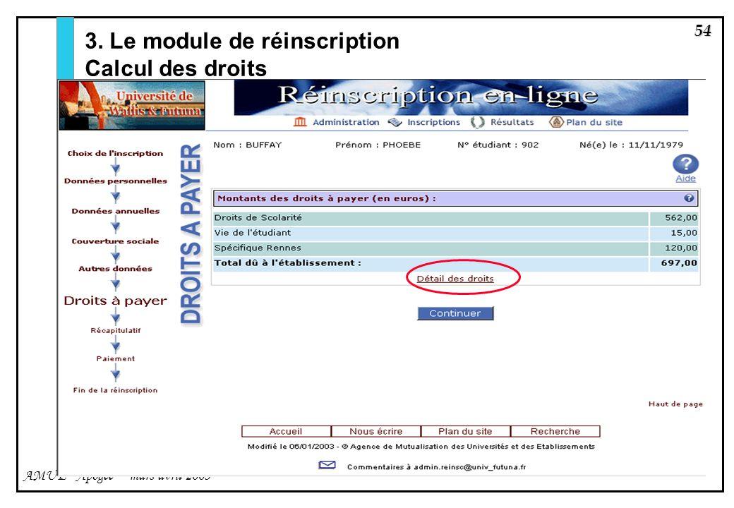 54 AMUE - Apogée – mars avril 2003 3. Le module de réinscription Calcul des droits