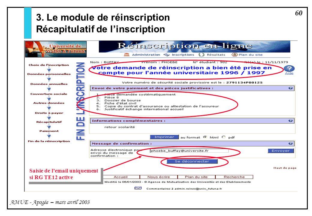 60 AMUE - Apogée – mars avril 2003 3. Le module de réinscription Récapitulatif de linscription Saisie de lemail uniquement si RG TE12 active