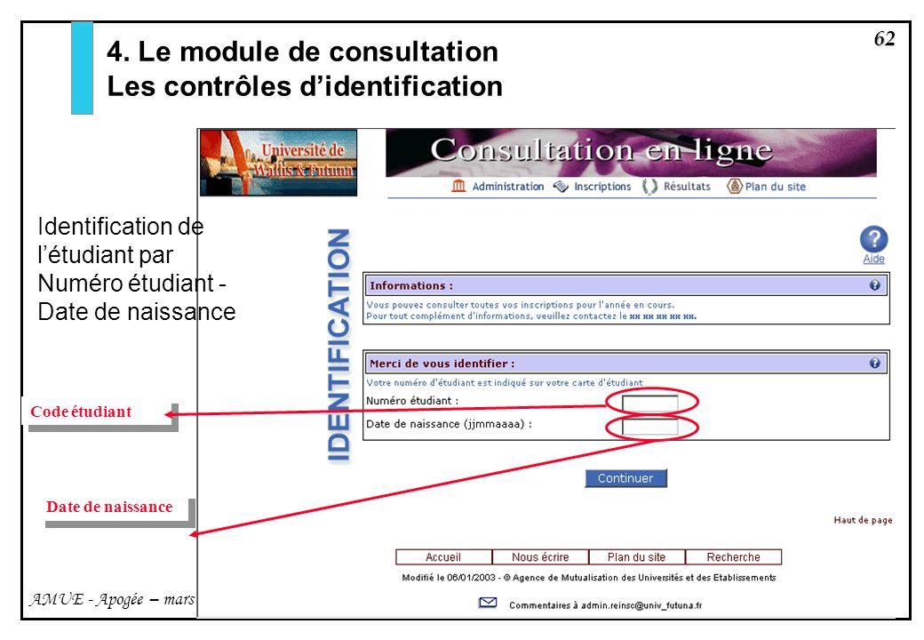 62 AMUE - Apogée – mars avril 2003 Code étudiant Date de naissance 4. Le module de consultation Les contrôles didentification Identification de létudi