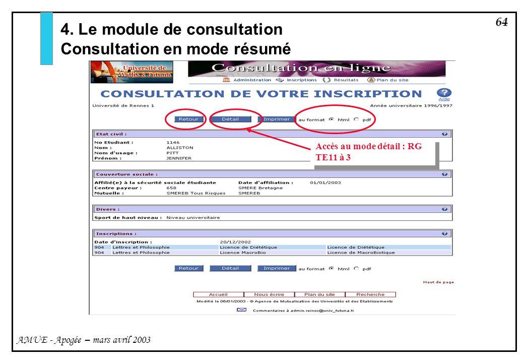 64 AMUE - Apogée – mars avril 2003 4. Le module de consultation Consultation en mode résumé Accès au mode détail : RG TE11 à 3