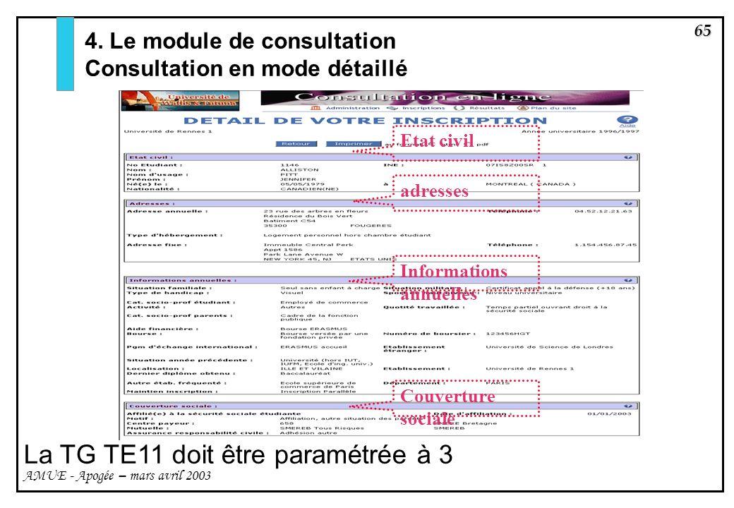 65 AMUE - Apogée – mars avril 2003 Informations annuelles adresses Couverture sociale Etat civil 4. Le module de consultation Consultation en mode dét
