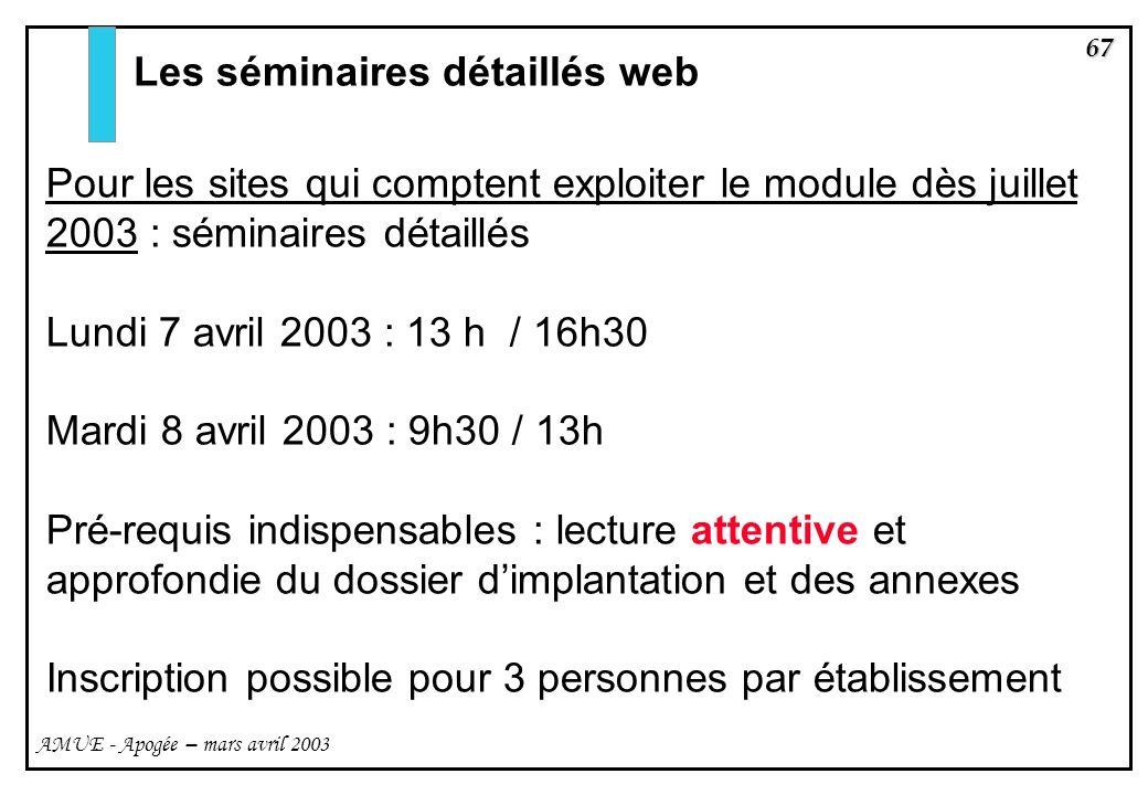67 AMUE - Apogée – mars avril 2003 Les séminaires détaillés web Pour les sites qui comptent exploiter le module dès juillet 2003 : séminaires détaillé