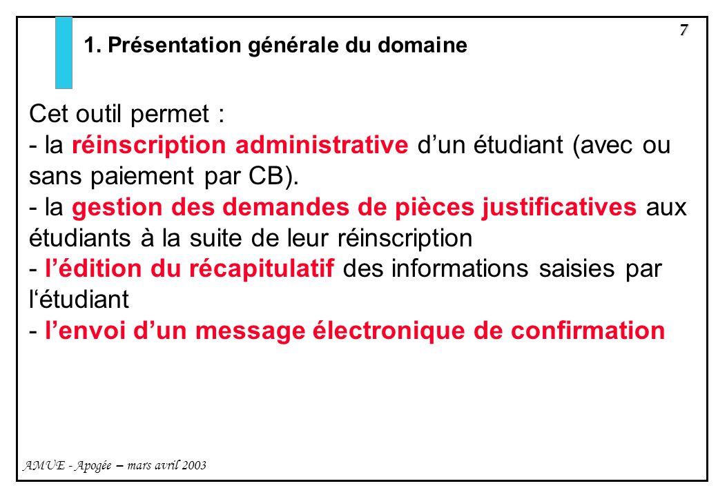 7 AMUE - Apogée – mars avril 2003 1. Présentation générale du domaine Cet outil permet : - la réinscription administrative dun étudiant (avec ou sans