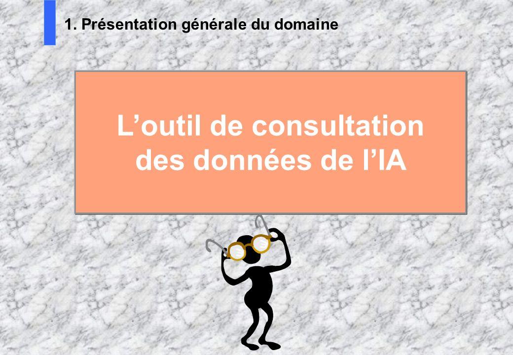 8 AMUE - Apogée – mars avril 2003 S 1. Présentation générale du domaine Loutil de consultation des données de lIA