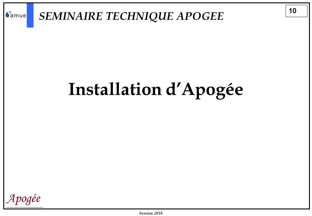 10 Apogée Session 2010 Installation dApogée SEMINAIRE TECHNIQUE APOGEE