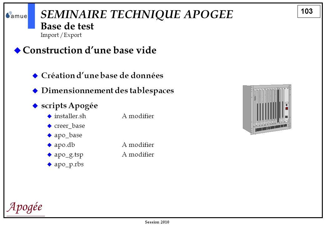 103 Apogée Session 2010 Construction dune base vide SEMINAIRE TECHNIQUE APOGEE Base de test Import /Export Création dune base de données Dimensionneme