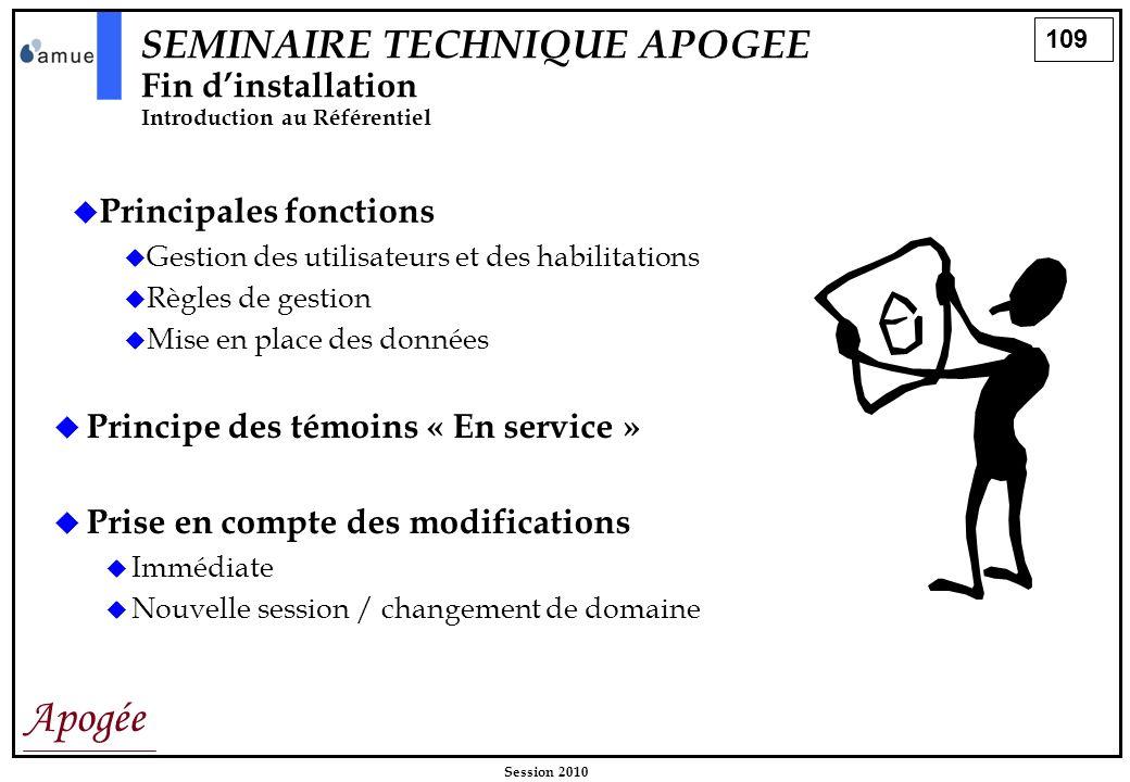 109 Apogée Session 2010 Principales fonctions Gestion des utilisateurs et des habilitations Règles de gestion Mise en place des données Prise en compt
