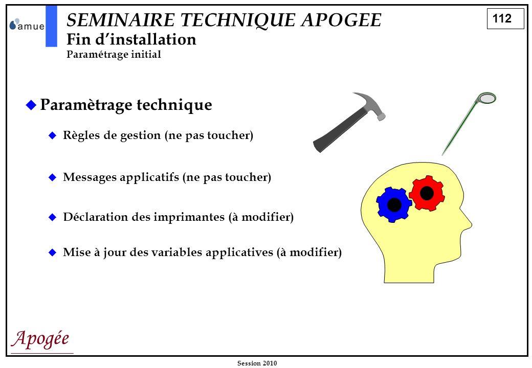 112 Apogée Session 2010 SEMINAIRE TECHNIQUE APOGEE Fin dinstallation Paramétrage initial Paramètrage technique Règles de gestion (ne pas toucher) Mess