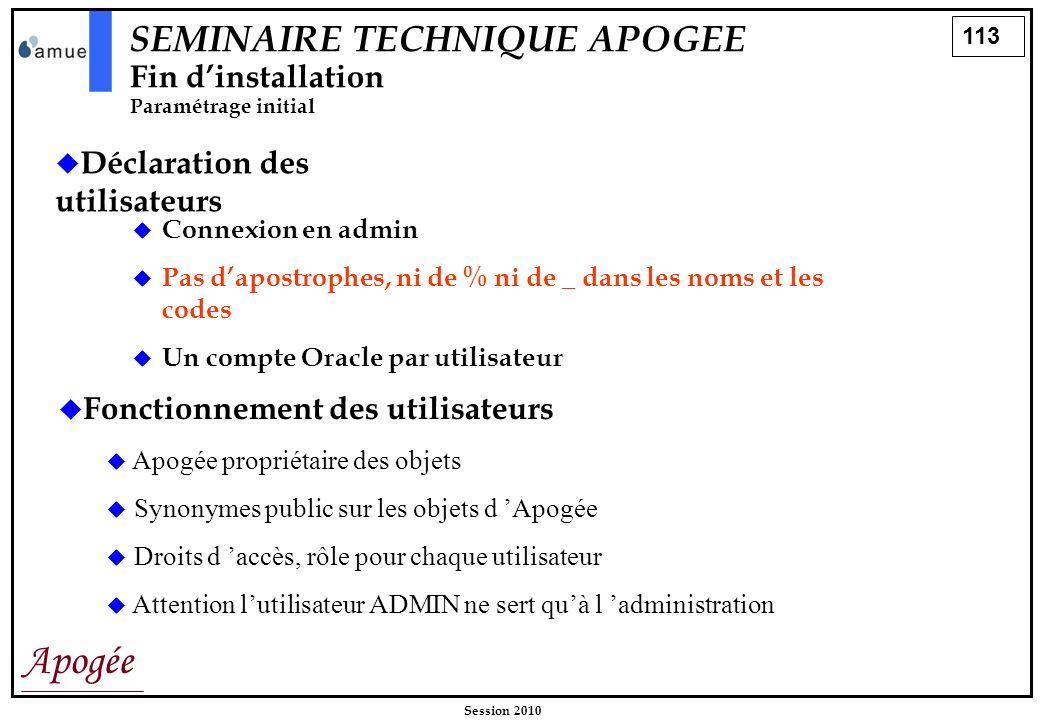 113 Apogée Session 2010 Déclaration des utilisateurs Connexion en admin Pas dapostrophes, ni de % ni de _ dans les noms et les codes Un compte Oracle