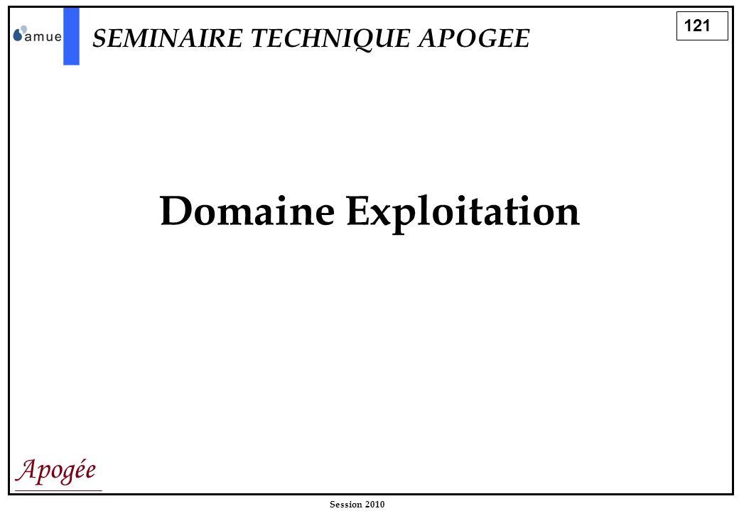121 Apogée Session 2010 Domaine Exploitation SEMINAIRE TECHNIQUE APOGEE