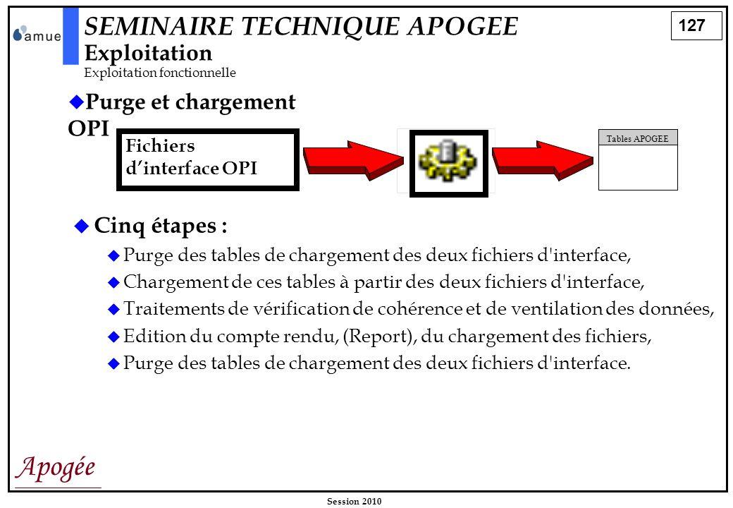 127 Apogée Session 2010 Purge et chargement OPI Fichiers dinterface OPI Tables APOGEE Cinq étapes : Purge des tables de chargement des deux fichiers d