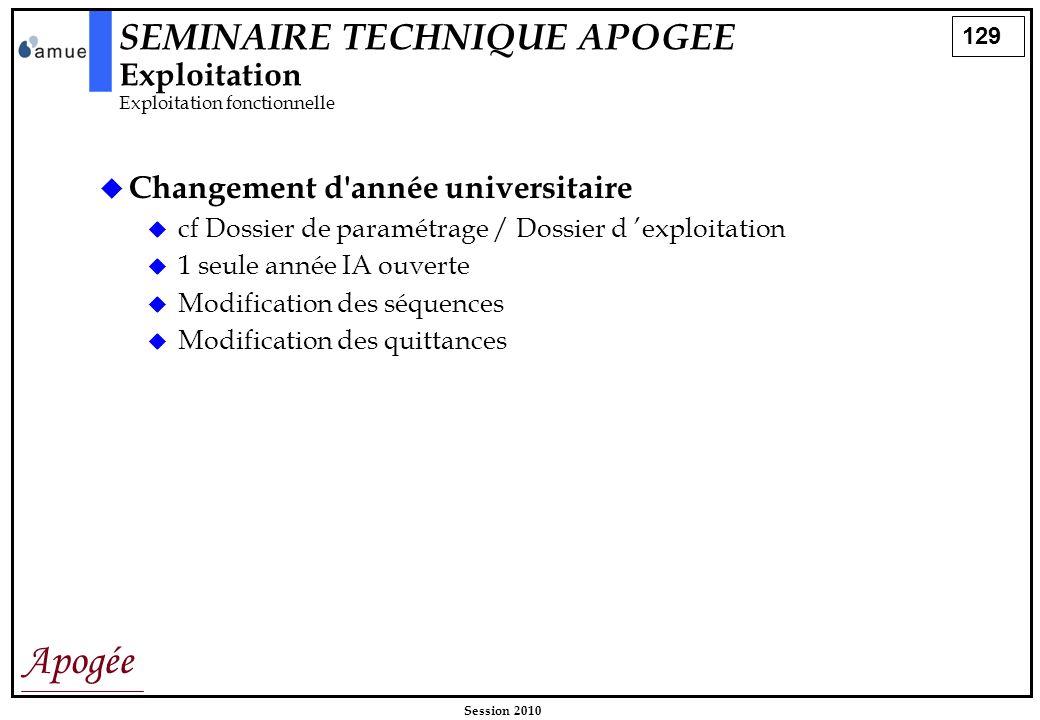 129 Apogée Session 2010 Changement d'année universitaire cf Dossier de paramétrage / Dossier d exploitation 1 seule année IA ouverte Modification des