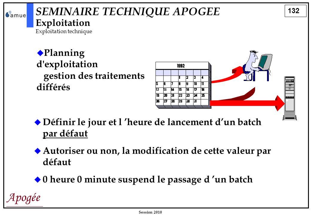 132 Apogée Session 2010 Planning d'exploitation gestion des traitements différés Définir le jour et l heure de lancement dun batch par défaut Autorise