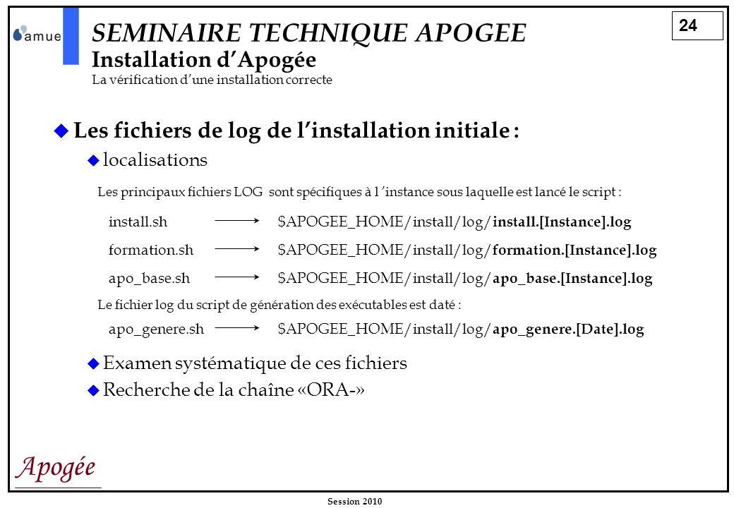 24 Apogée Session 2010 SEMINAIRE TECHNIQUE APOGEE Installation dApogée La vérification dune installation correcte Les fichiers de log de linstallation