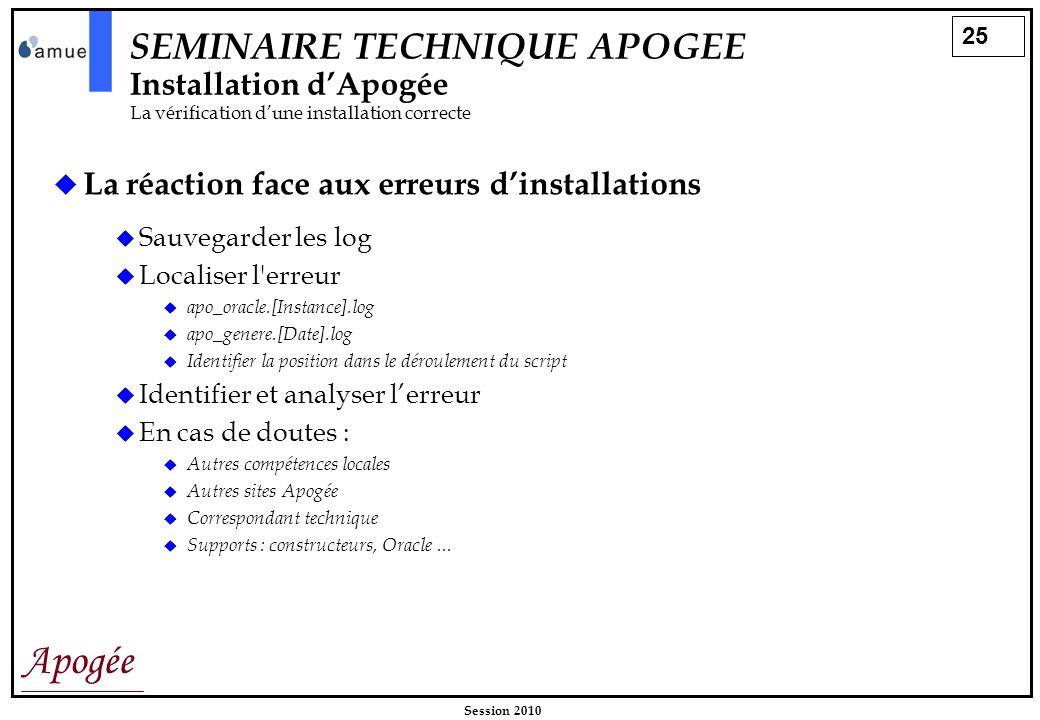 25 Apogée Session 2010 SEMINAIRE TECHNIQUE APOGEE Installation dApogée La vérification dune installation correcte La réaction face aux erreurs dinstal