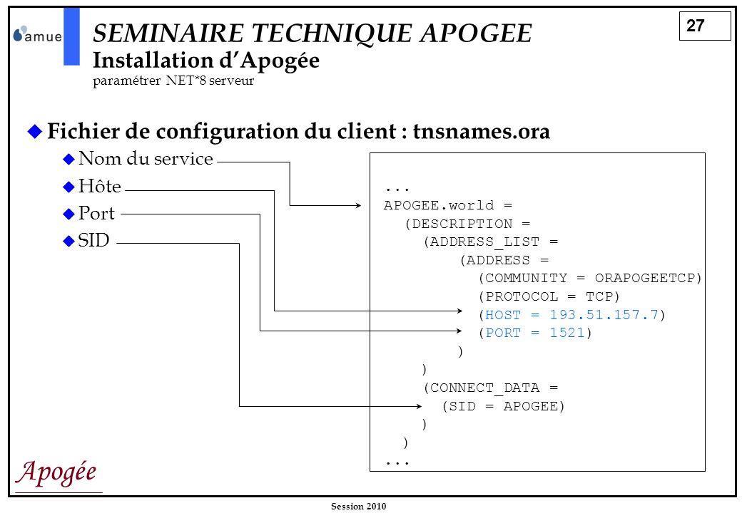 27 Apogée Session 2010 Fichier de configuration du client : tnsnames.ora SEMINAIRE TECHNIQUE APOGEE Installation dApogée paramétrer NET*8 serveur... A