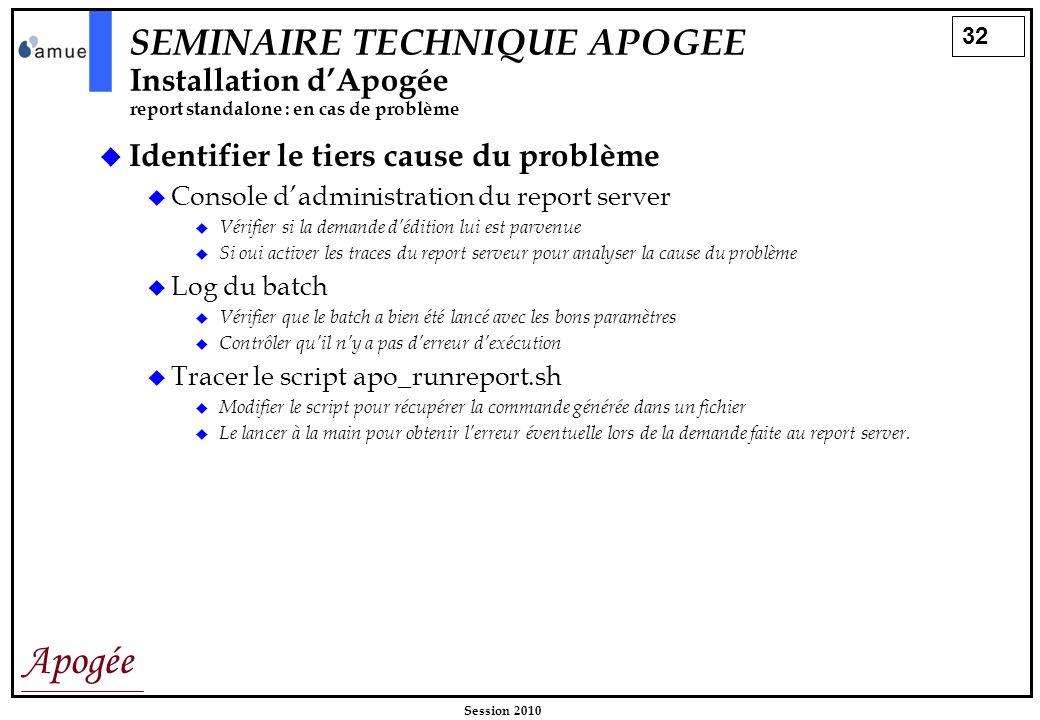 32 Apogée Session 2010 Identifier le tiers cause du problème Console dadministration du report server Vérifier si la demande dédition lui est parvenue
