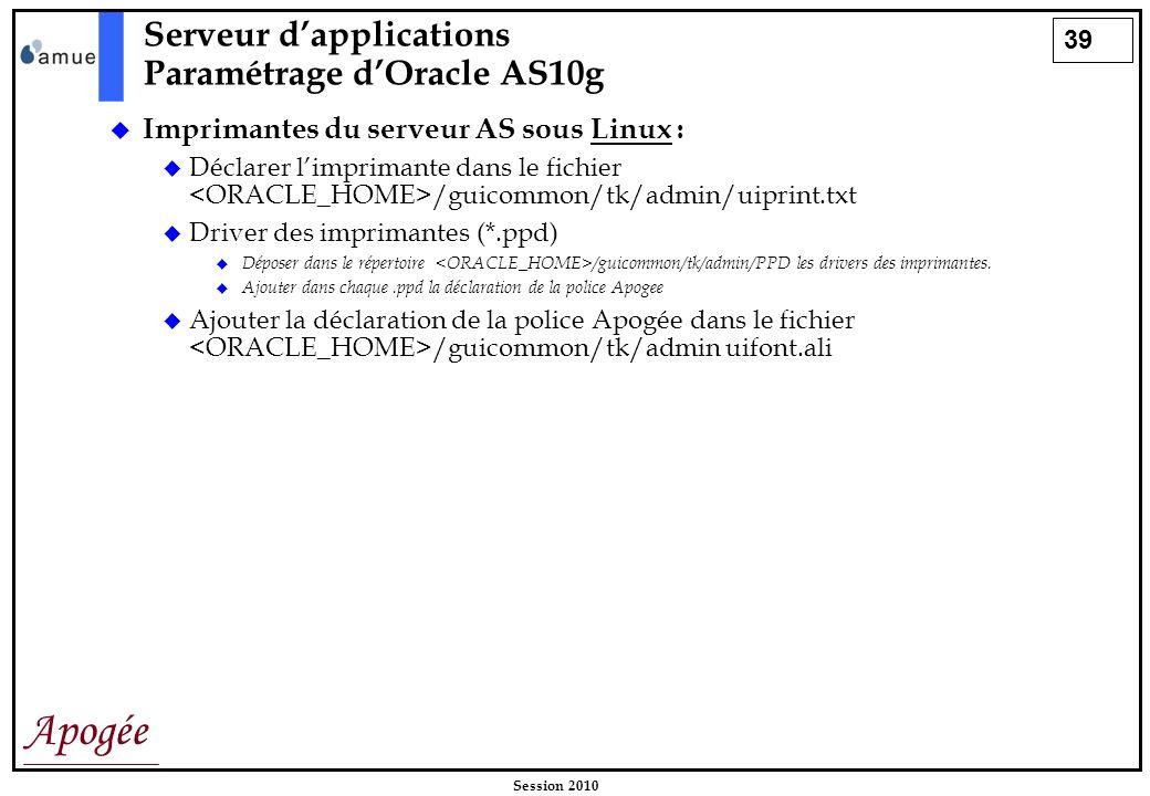 39 Apogée Session 2010 Imprimantes du serveur AS sous Linux : Déclarer limprimante dans le fichier /guicommon/tk/admin/uiprint.txt Driver des impriman