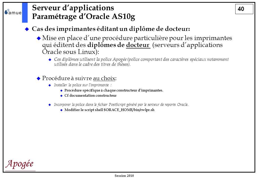 40 Apogée Session 2010 Cas des imprimantes éditant un diplôme de docteur: Mise en place dune procédure particulière pour les imprimantes qui éditent d