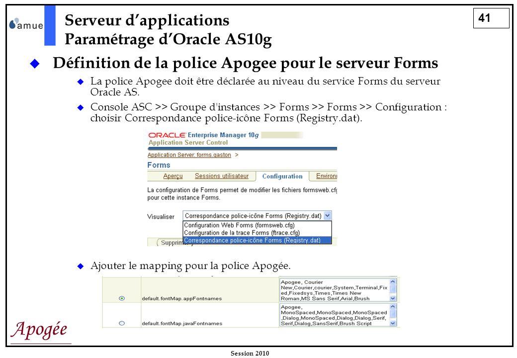 41 Apogée Session 2010 Serveur dapplications Paramétrage dOracle AS10g Définition de la police Apogee pour le serveur Forms La police Apogee doit être