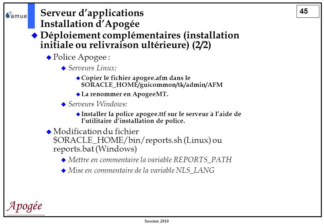 45 Apogée Session 2010 Déploiement complémentaires (installation initiale ou relivraison ultérieure) (2/2) Police Apogee : Serveurs Linux: Copier le f