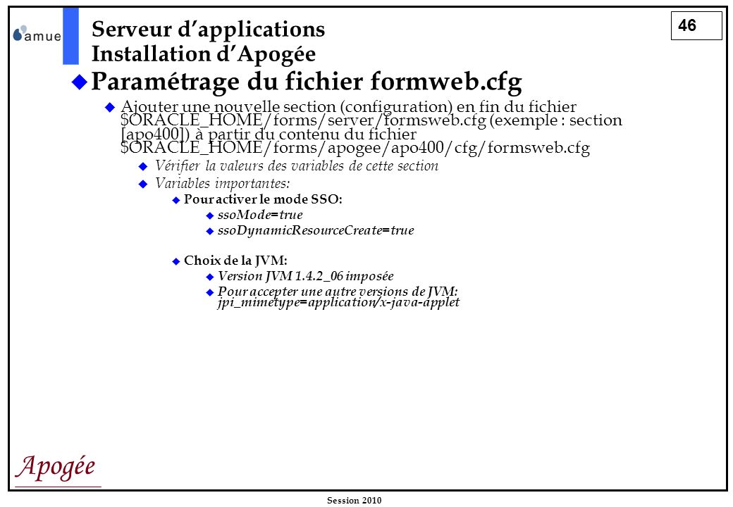 46 Apogée Session 2010 Paramétrage du fichier formweb.cfg Ajouter une nouvelle section (configuration) en fin du fichier $ORACLE_HOME/forms/server/for